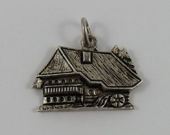 Schwarzwald Water Wheel House Silver Vintage Charm For Bracelet