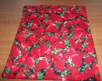 Large, Microwave Potato Bag, Potato Bag, Strawberry, Red Strawberries, Potato Sack, Handmade, Kitchen Utensil, All Cotton, Gift