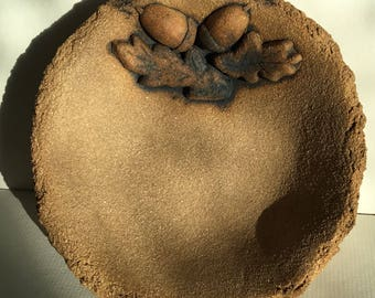 Acorn and oak leaves ceramic bowl with oxide, stoneware fired