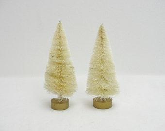 4 inch natural sisal tree, bottle brush tree, white bottle bush tree set of 2