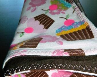 Baby Burp Cloth - Cupcakes - Brown, Pink, Turquoise, Orange, White