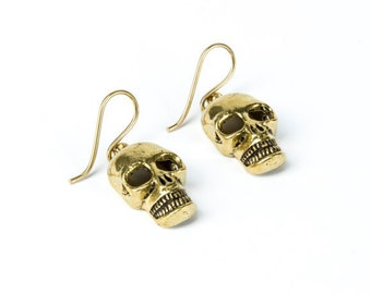 Brass Skull Earrings handmade, Hanging, Tribal Earrings, Nickel Free, Skull Jewellery, Gift boxed,Free UK postage BG5
