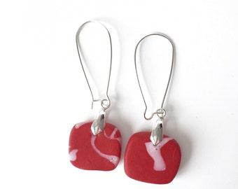 Long red earrings. square earrings. long earrings. Polymer clay earrings. Red pattern earrings. gift for her. Statement earrings