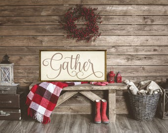 Large gather sign, rustic home decor, rustic wood sign, wall decor, farmhouse decor, kitchen decor, dinning room sign, housewarming gift