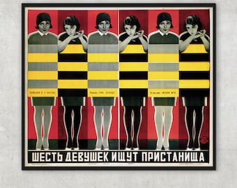 Vintage Movie poster - Six Girls Seeking Shelter 1927 -  by Stenberg brothers - Constructivism, P084