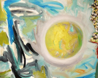Abstract Painting of Day Sky in Yellow, White, Black and Blue- **Diptych