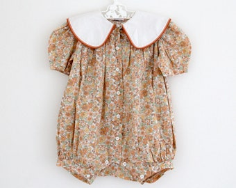 Vintage French floral summer playsuit with contrast Peter Pan collar, by Jacadi, age 9-12 months
