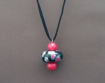 Red and Black Necklace/Glass Pendant /Glass Necklace/Red and Black Glass Necklace