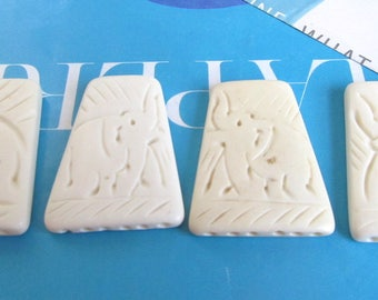 White Bone Reducer, 3 to 6 Hole Bone Spacer Bar, Bracelet Separator, Cream Reducer, Carved Elephant, 4 Pcs 08151