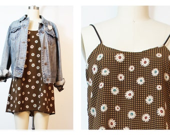 Daisy Gingham Cami Dress Shred Threads 90's Inspired Made to Order from Dead-stock fabric Small handmade
