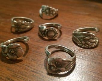 Floral Spoon Rings