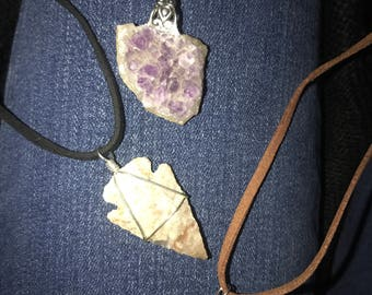 Amethyst and Arrowhead pendant necklaces