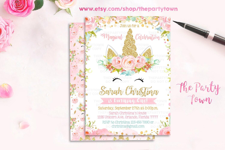 Unicorn Birthday Invitation Magical Unicorn Invite Floral