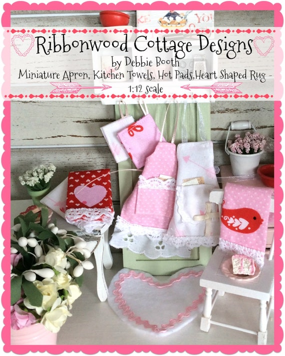 Sewing Pattern Miniature Apron, Hot Pad, Kitchen Towel and Heart Rug - 1:12 Scale Miniature Dollhouse PDF Pattern