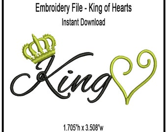 King Of Hearts Embroidery Design - Digital - Instant Download - Cap - Apparel - Personal - Commercial