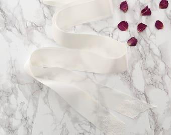 Satin wedding belt with lace tips, Lace wedding belt, Satin wedding belt
