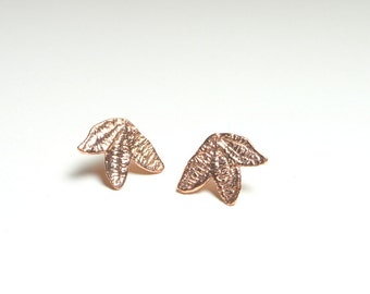 Rose gold leaf earrings, rose gold lace earrings, rose gold studs, wedding posts bohemian jewelry, bridesmaid gift, leaf posts