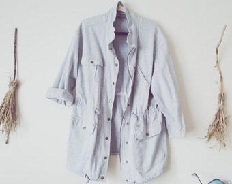 Oversized Sweatshirt Rain Jacket Gray