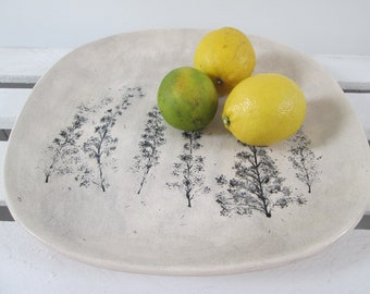 ceramic plate with plants, relief platter, organic plate, appetizer with plants, handmade ceramic tray, serving plate, decorative plate