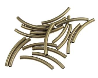 18 Brass Noodle Beads 25mm Antique Brass Tube Beads Curved Tube Beads 2.5mm x 25mm Solid Brass Beads Aged Brass Antique Bronze (FSAB105)