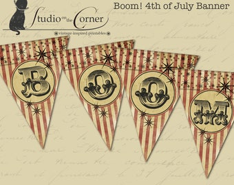 Printable July 4th Banner, Patriotic Banner, Fourth of July Banner, DIY Fourth of July Banner, Holiday Bunting, Party Decor