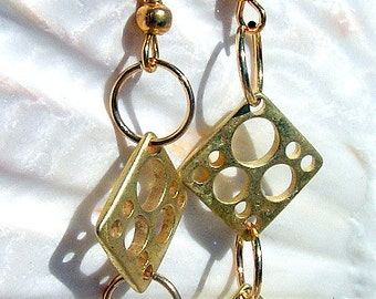 Gold Plated Square Holed Earrings Jewelry
