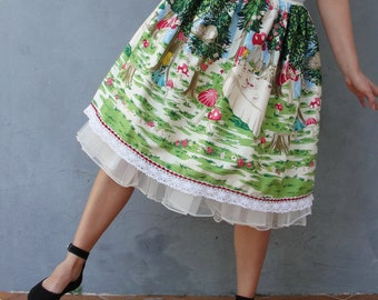 Alice in Wonderland Skirt, Mad Hatter's Tea Party, Cheshire Cat, Fairy tale Clothing size 8/12 EU size 38/42