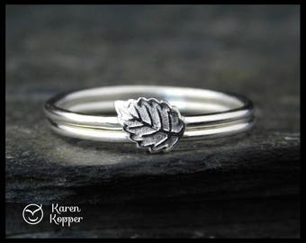 Set of 2 stacking Autumn leaf rings. Sterling silver 0,925. Skinny ring, stacking ring. Made to order at your size..
