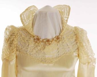 Original 1940s Wedding Gown Cream Silk Satin Gown, Lace Yoke and Collar Size 4 - Item # 420 Wedding Apparel