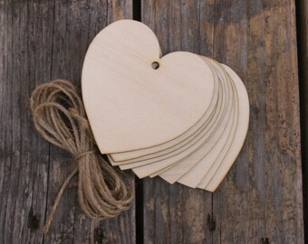 10 x Wooden Curvaceous Heart Craft Shape 3mm Ply