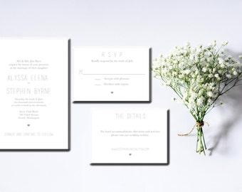 Printable Wedding Invitation Suite Typography