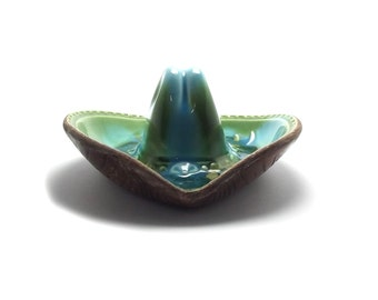 Cowboy Vintage Kitsch Retro, Cowboy Hat, Ashtray, Treasure Craft, 60s, Turquoise, Teal, Blue, Jewelry Tray