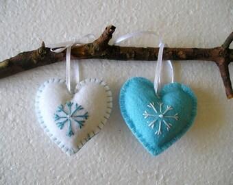 Blue and White Christmas Hearts - Christmas Felt Ornament - Handing Hearts - Christmas Decor - Handmade Embroidery