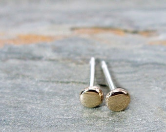 Tiny Solid 14k Gold Pebble Earrings, Pair of Yellow or Rose Gold Dot Studs, Sterling Silver Post. Choose 3mm, 4mm, or 5mm, Polished or Matte