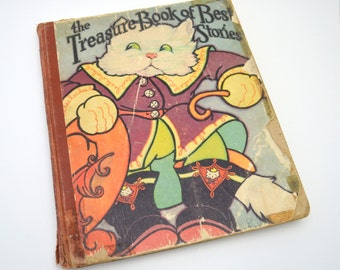 The Treasure Book of Best Stories, Vintage Children's Book, Fairy Tales Illustrated by Fern Bisel Peat, Nursery Decor, 1930s