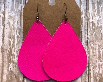 Pink Leather Earrings, Hot Pink Earrings, Neon Pink Earrings, Genuine Leather Earrings