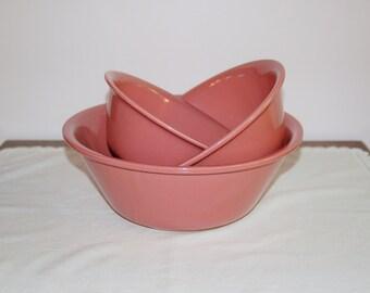 Pink Ceramic Mixing Bowls, Set of 3 Vintage Mauve Alamo Pottery Nesting Bowls, Vintage Kitchen, 3 Stacking Batter Bowls, Mid Century Baking
