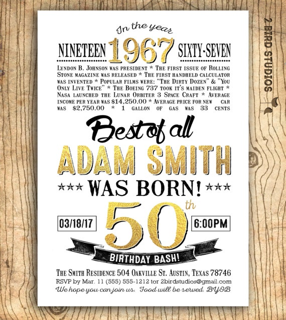 50th birthday invitation for men surprise 50th birthday like this item filmwisefo Choice Image