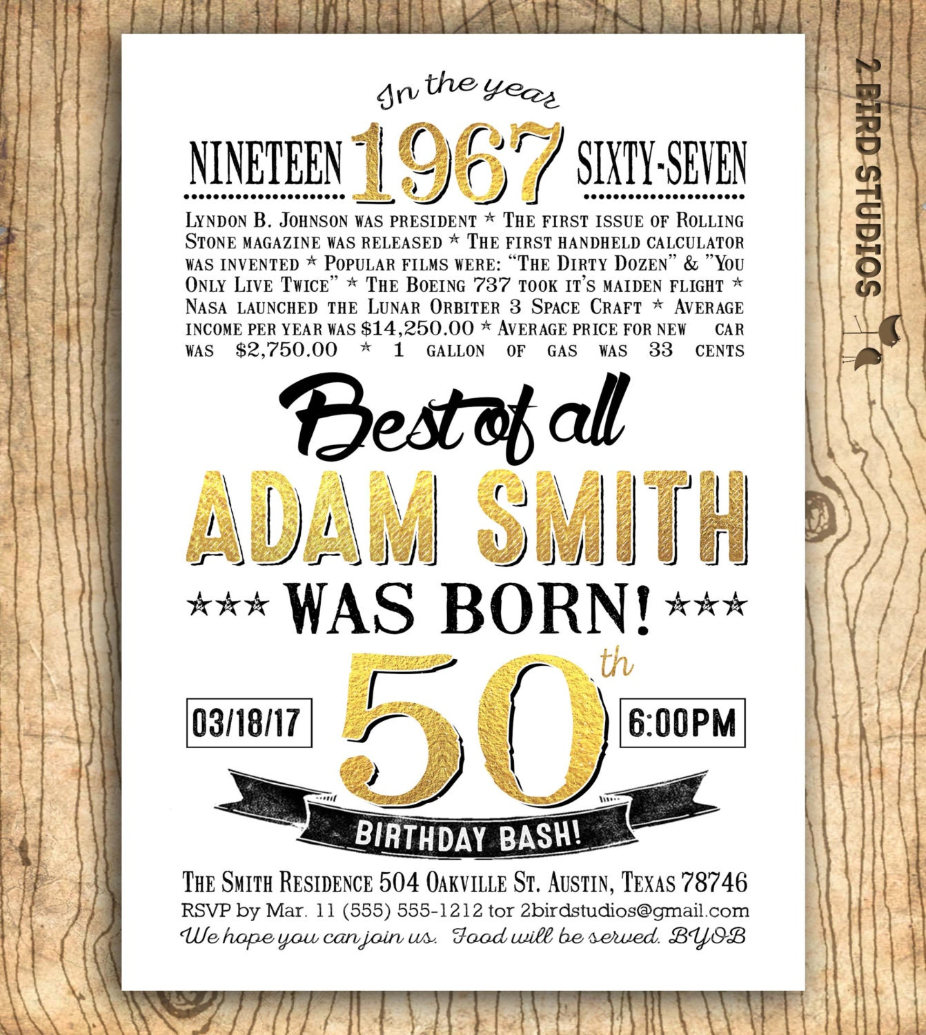 50th Birthday Invitation For Men Surprise 50th Birthday