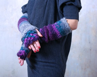 Fingerless Gloves Extra long Arm warmers Fingerless mittens Crocheted Handmade texting gloves Wrist warmers violet burgundy turquoise grey