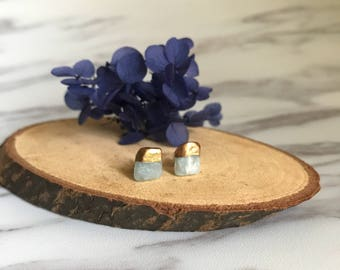 Gold Dipped Aquamarine Studs