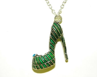 "Pinup High Heels Stiletto Pump Silver Green Enamel Charm Pendant 24"" inch chain"