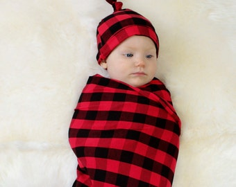 Red Buffalo Swaddle & Newborn Hat