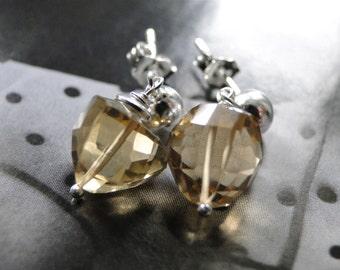 Sterling Earrings Golden Quartz Earrings, Whiskey Quartz Earrings, Sterling Silver Posts, Gift for Her, Accessories