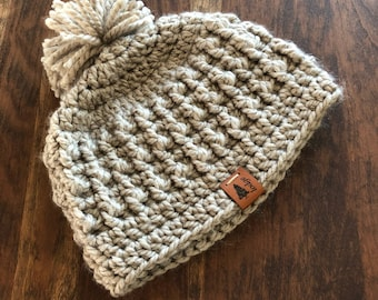 Taupe chunky beanie hat winter accessory texture