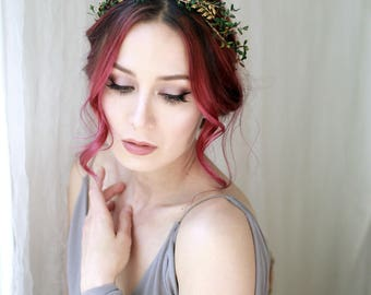 Golden bridal crown, grecian goddess crown, hair wreath, leaf headband, woodland wedding tiara, wedding headpiece, whimisical hair accessory