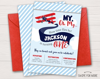 Airplane Birthday Invitation | Airplane Invitation | Airplane Birthday Party | Baby Blue, Red, Navy, Gray | Personalized and Printable