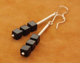 Black onyx and silver cube earrings
