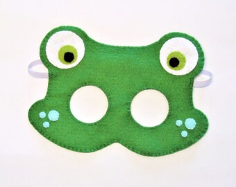 Frog felt mask green party favor for boy girl kids adult him her Dress up play costume soft accessory Theatre roleplay Photo booth prop