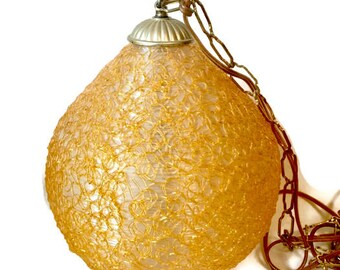Vintage Lucite Spun Resin Spaghetti Swag Lamp, Orange Spun Glass Lighting, Mid Century Ceiling Light